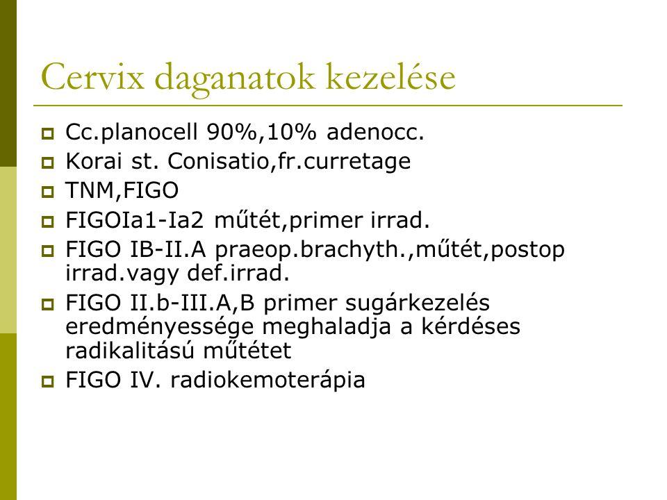 Cervix daganatok kezelése  Cc.planocell 90%,10% adenocc.