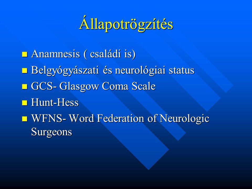 Állapotrögzítés Anamnesis ( családi is) Anamnesis ( családi is) Belgyógyászati és neurológiai status Belgyógyászati és neurológiai status GCS- Glasgow