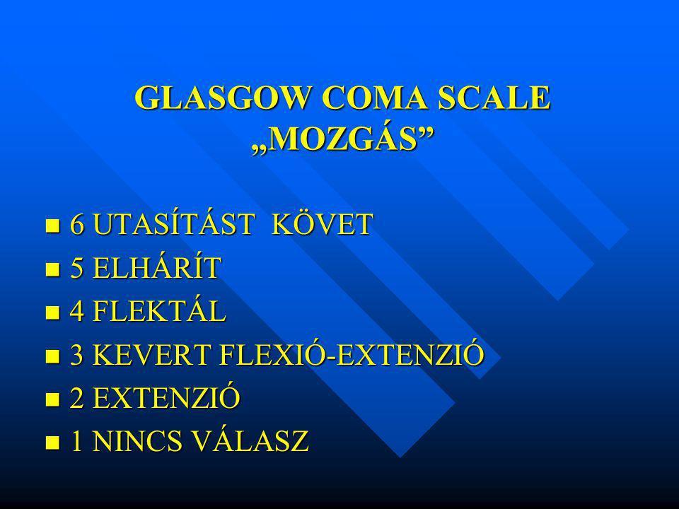 """GLASGOW COMA SCALE """"MOZGÁS"""" 6 UTASÍTÁST KÖVET 6 UTASÍTÁST KÖVET 5 ELHÁRÍT 5 ELHÁRÍT 4 FLEKTÁL 4 FLEKTÁL 3 KEVERT FLEXIÓ-EXTENZIÓ 3 KEVERT FLEXIÓ-EXTEN"""