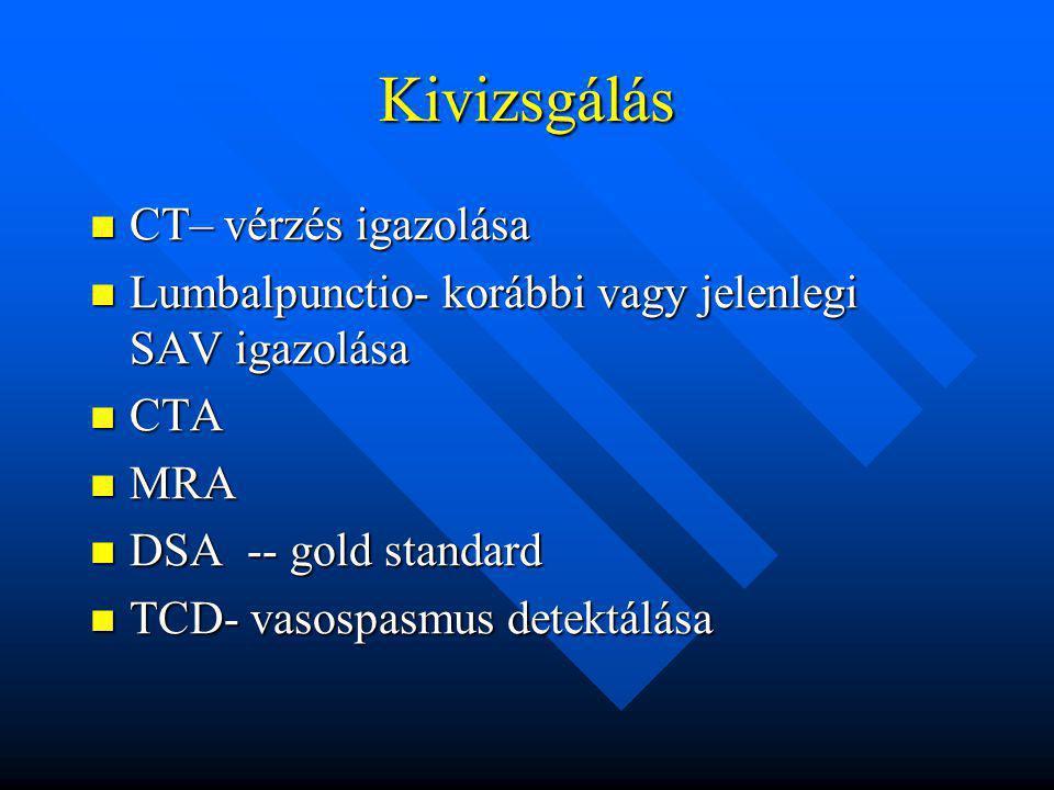 Kivizsgálás CT– vérzés igazolása CT– vérzés igazolása Lumbalpunctio- korábbi vagy jelenlegi SAV igazolása Lumbalpunctio- korábbi vagy jelenlegi SAV ig