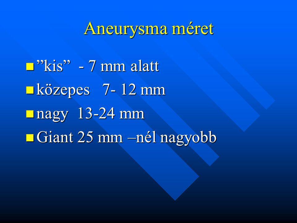 """Aneurysma méret """"kis"""" - 7 mm alatt """"kis"""" - 7 mm alatt közepes 7- 12 mm közepes 7- 12 mm nagy 13-24 mm nagy 13-24 mm Giant 25 mm –nél nagyobb Giant 25"""