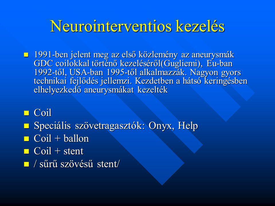 Neurointerventios kezelés 1991-ben jelent meg az első közlemény az aneurysmák GDC coilokkal történő kezeléséről(Gugliemi), Eu-ban 1992-től, USA-ban 19