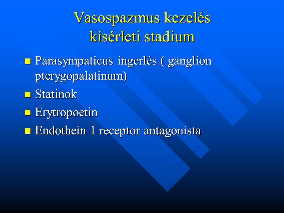 Vasospazmus kezelés kísérleti stadium Parasympaticus ingerlés ( ganglion pterygopalatinum) Parasympaticus ingerlés ( ganglion pterygopalatinum) Statin