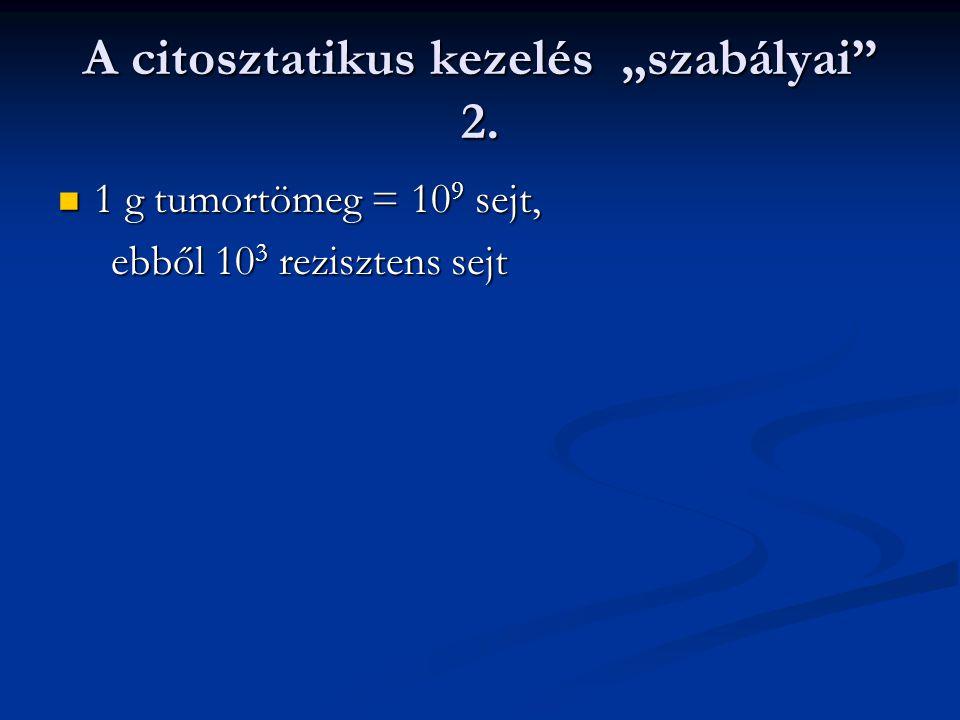 """A citosztatikus kezelés """"szabályai"""" 2. 1 g tumortömeg = 10 9 sejt, 1 g tumortömeg = 10 9 sejt, ebből 10 3 rezisztens sejt ebből 10 3 rezisztens sejt"""