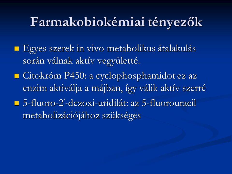 Farmakobiokémiai tényezők Egyes szerek in vivo metabolikus átalakulás során válnak aktív vegyületté. Egyes szerek in vivo metabolikus átalakulás során