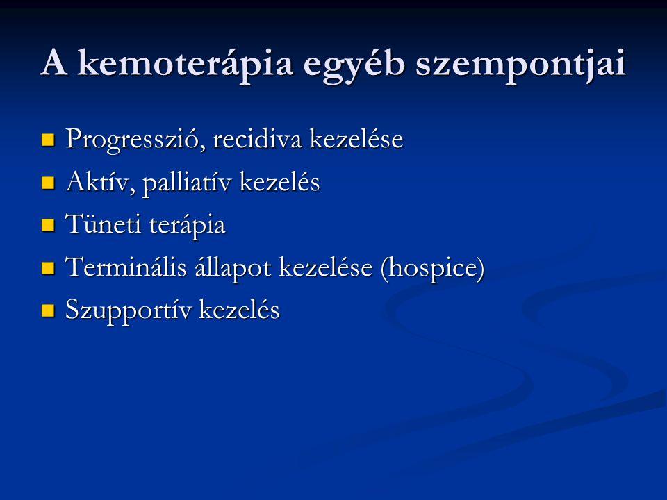 A kemoterápia egyéb szempontjai Progresszió, recidiva kezelése Progresszió, recidiva kezelése Aktív, palliatív kezelés Aktív, palliatív kezelés Tüneti