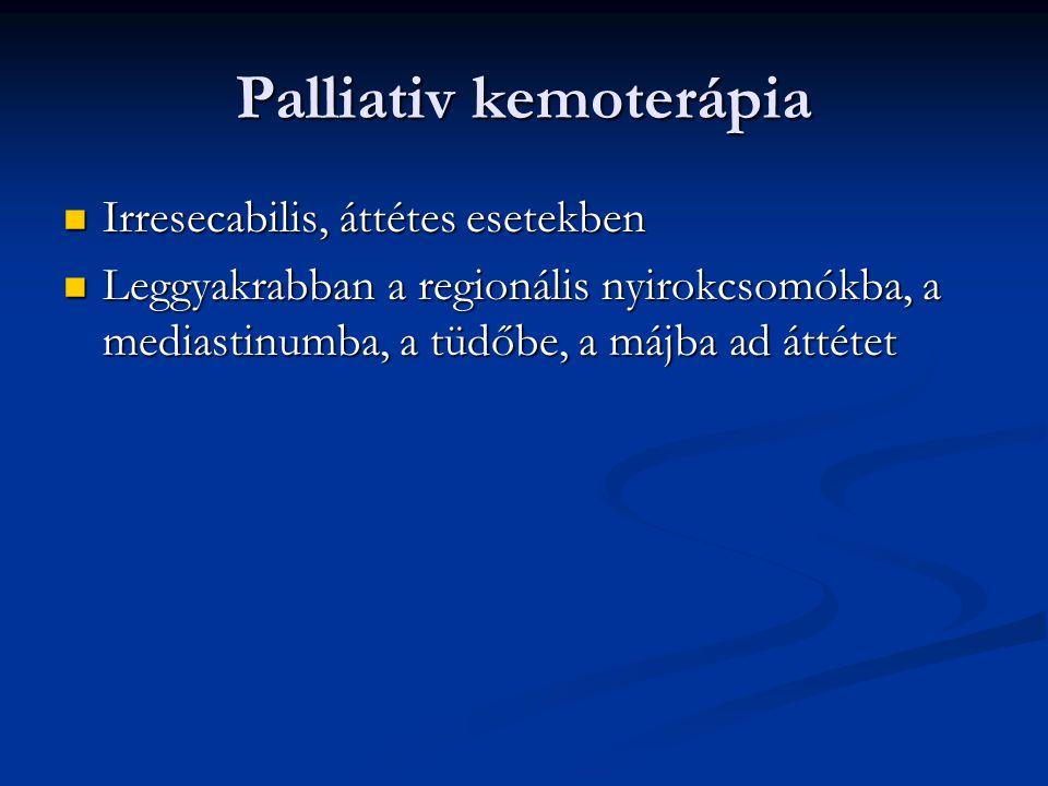 Palliativ kemoterápia Irresecabilis, áttétes esetekben Irresecabilis, áttétes esetekben Leggyakrabban a regionális nyirokcsomókba, a mediastinumba, a tüdőbe, a májba ad áttétet Leggyakrabban a regionális nyirokcsomókba, a mediastinumba, a tüdőbe, a májba ad áttétet