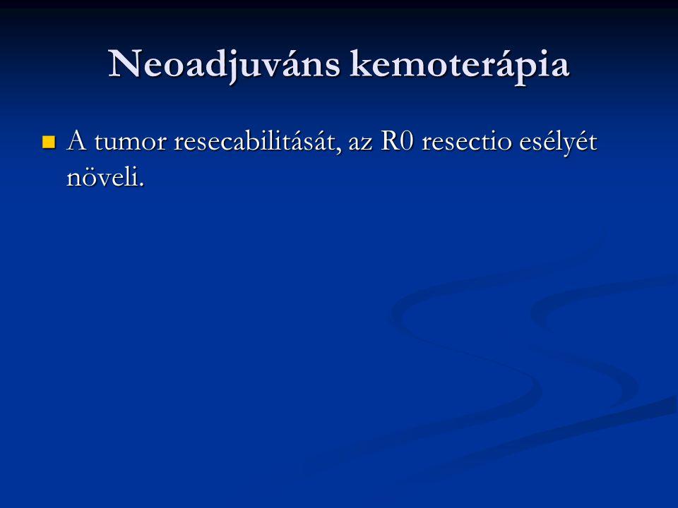 Neoadjuváns kemoterápia A tumor resecabilitását, az R0 resectio esélyét növeli.
