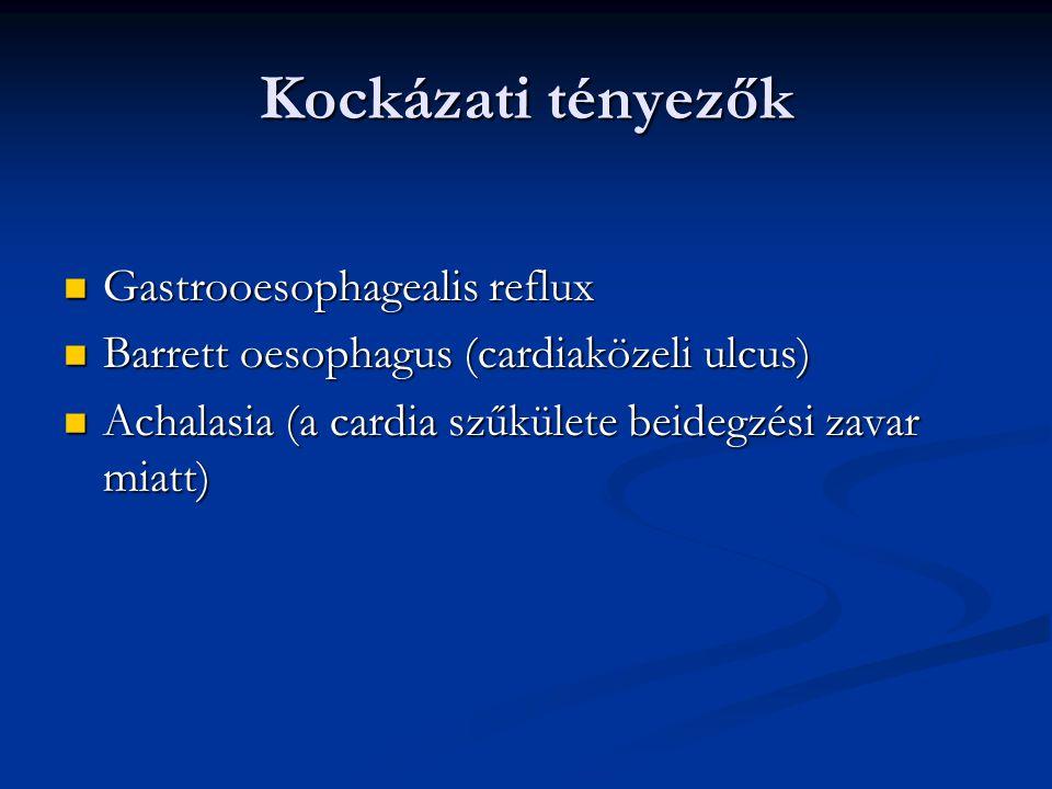 Kockázati tényezők Gastrooesophagealis reflux Gastrooesophagealis reflux Barrett oesophagus (cardiaközeli ulcus) Barrett oesophagus (cardiaközeli ulcus) Achalasia (a cardia szűkülete beidegzési zavar miatt) Achalasia (a cardia szűkülete beidegzési zavar miatt)