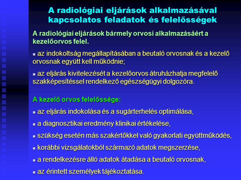 A radiológiai eljárások alkalmazásával kapcsolatos feladatok és felelősségek A radiológiai eljárások bármely orvosi alkalmazásáért a kezelőorvos felel