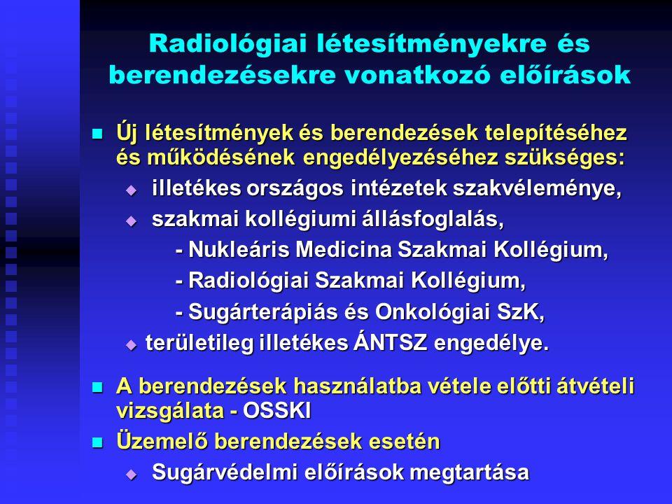 Radiológiai létesítményekre és berendezésekre vonatkozó előírások Új létesítmények és berendezések telepítéséhez és működésének engedélyezéséhez szüks