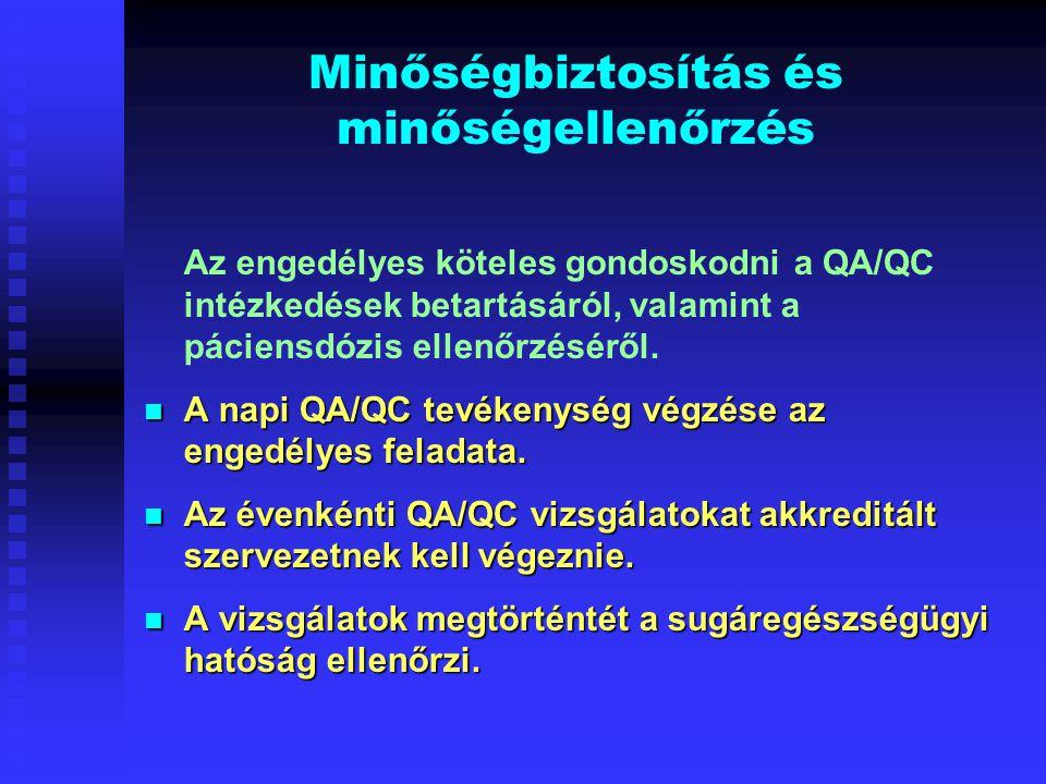 Minőségbiztosítás és minőségellenőrzés Az engedélyes köteles gondoskodni a QA/QC intézkedések betartásáról, valamint a páciensdózis ellenőrzéséről. A