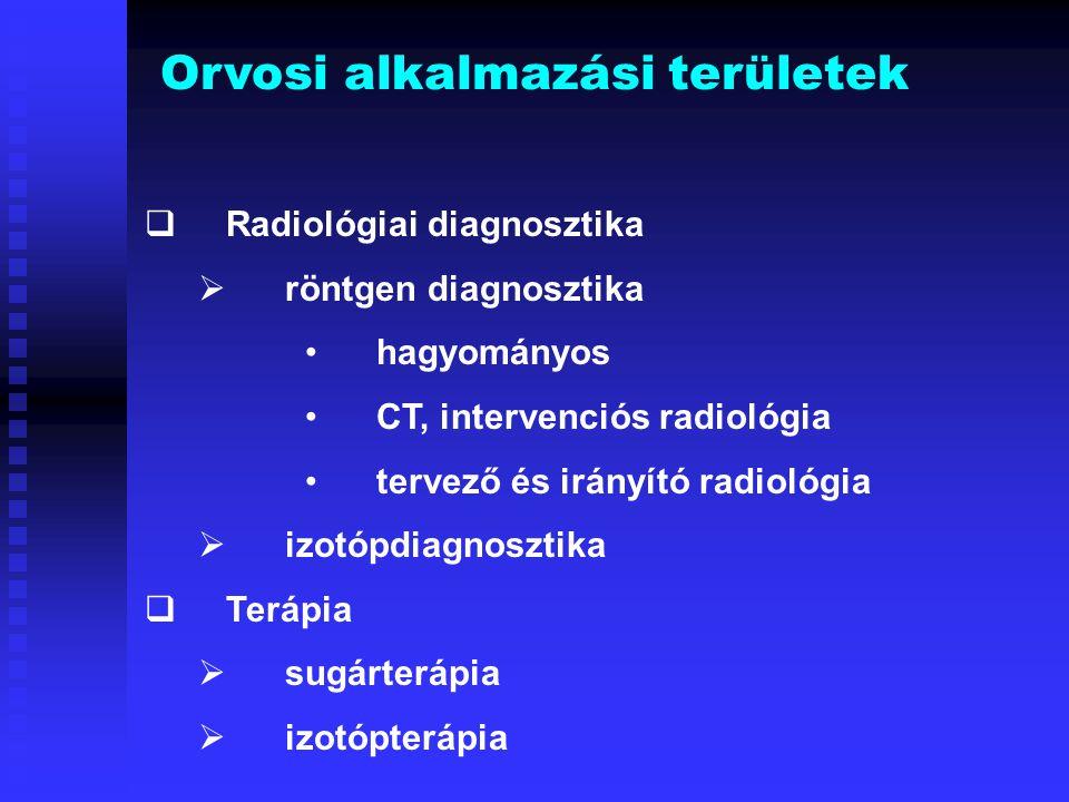 Intervenciós radiológiai eljárások páciens dózisaiEljárásTechnika Átvilágítási idő (perc) DAP (Gycm 2 ) E (mSv) KoronáriaSorozatfilm 3,6 – 9,8 16,1 – 98 2 – 15,8 Digitális5,747,79,4 CerebrálisDSA 1,2 – 36 12 – 120 2,7 – 23,4 Abdominális Hepatikus DSA 2,3 – 28,6 28 – 279 4 – 48 Renális DSA 5,5 – 21 41 – 186 6 - 34 Eljárás Lokális bőrdózis (Gy) Átvilágítási idő (perc) DAP (Gycm 2 ) E (mSv) PTCA 0,05 – 5 3 – 92 20 – 402 7,5 – 57 PTA0,4 5 – 68 5 – 338 10 – 12,5 TIPS 0,4 – 5 9 – 115 7 – 1131 2 – 181 RF abláció 0,1 – 8,4 3 – 195 7 – 532 17 – 25 Embolizáció 0,2 – 0,5 1 – 90 7 – 918 6 - 43 Angiográfiás eljárások technikai paraméterei és páciens dózisai Terápiás eljárások technikai paraméterei és páciens dózisai