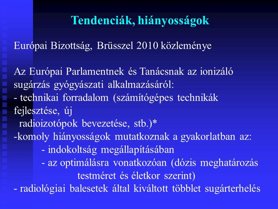 Tendenciák, hiányosságok Európai Bizottság, Brüsszel 2010 közleménye Az Európai Parlamentnek és Tanácsnak az ionizáló sugárzás gyógyászati alkalmazásá
