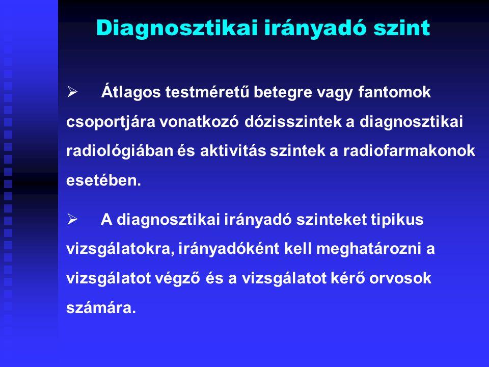 Diagnosztikai irányadó szint  Átlagos testméretű betegre vagy fantomok csoportjára vonatkozó dózisszintek a diagnosztikai radiológiában és aktivitás