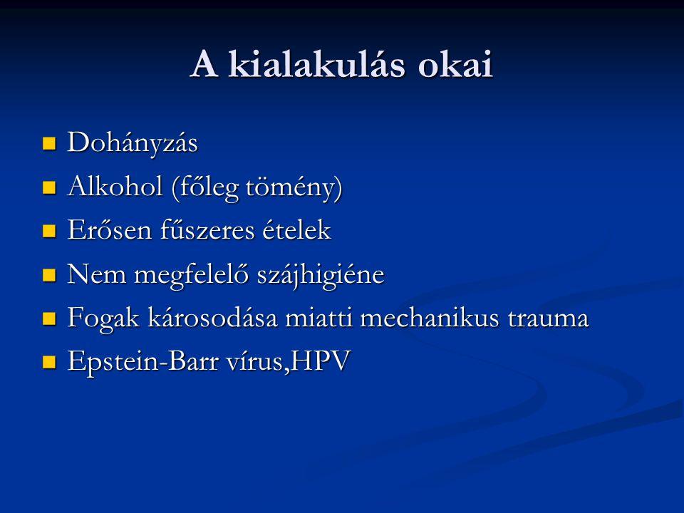 A kialakulás okai Dohányzás Dohányzás Alkohol (főleg tömény) Alkohol (főleg tömény) Erősen fűszeres ételek Erősen fűszeres ételek Nem megfelelő szájhigiéne Nem megfelelő szájhigiéne Fogak károsodása miatti mechanikus trauma Fogak károsodása miatti mechanikus trauma Epstein-Barr vírus,HPV Epstein-Barr vírus,HPV