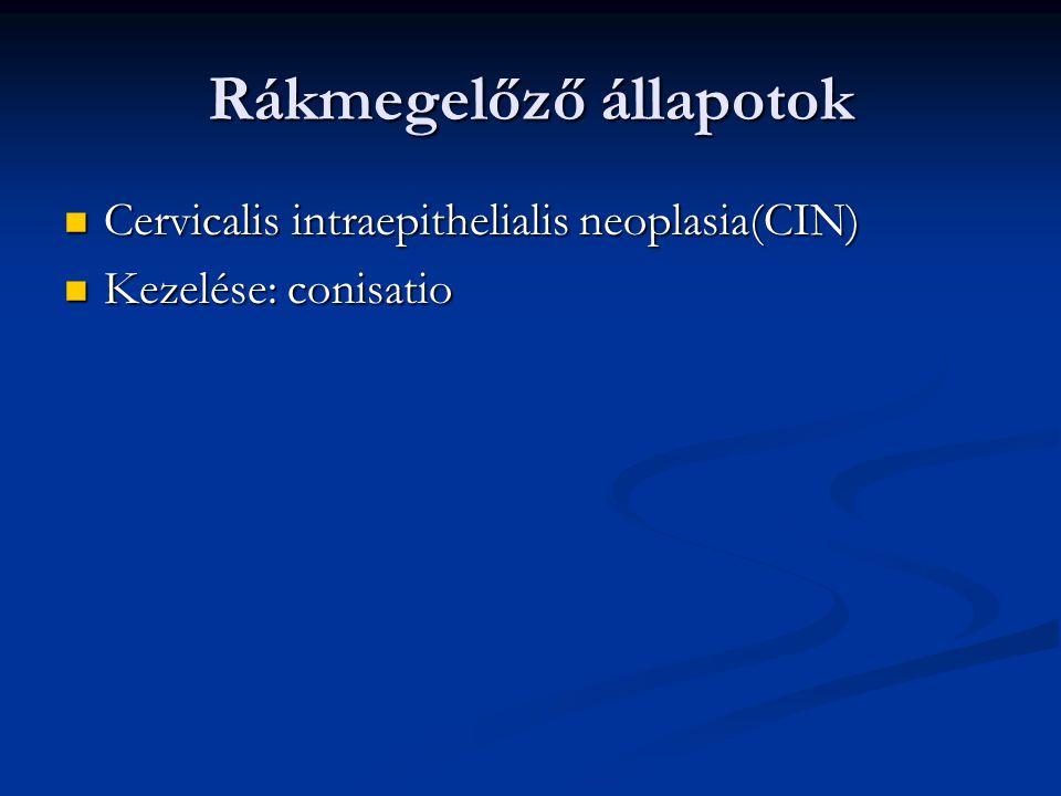 Rákmegelőző állapotok Cervicalis intraepithelialis neoplasia(CIN) Cervicalis intraepithelialis neoplasia(CIN) Kezelése: conisatio Kezelése: conisatio