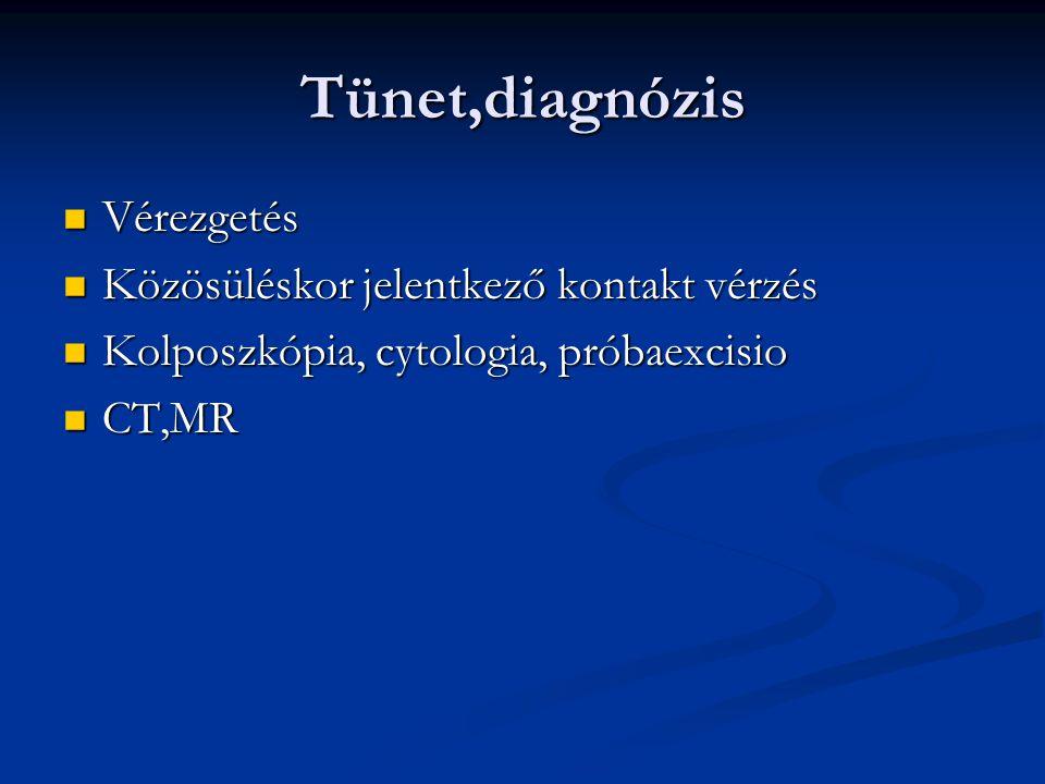 Tünet,diagnózis Vérezgetés Vérezgetés Közösüléskor jelentkező kontakt vérzés Közösüléskor jelentkező kontakt vérzés Kolposzkópia, cytologia, próbaexci
