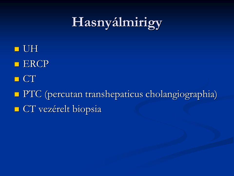 Hasnyálmirigy UH UH ERCP ERCP CT CT PTC (percutan transhepaticus cholangiographia) PTC (percutan transhepaticus cholangiographia) CT vezérelt biopsia