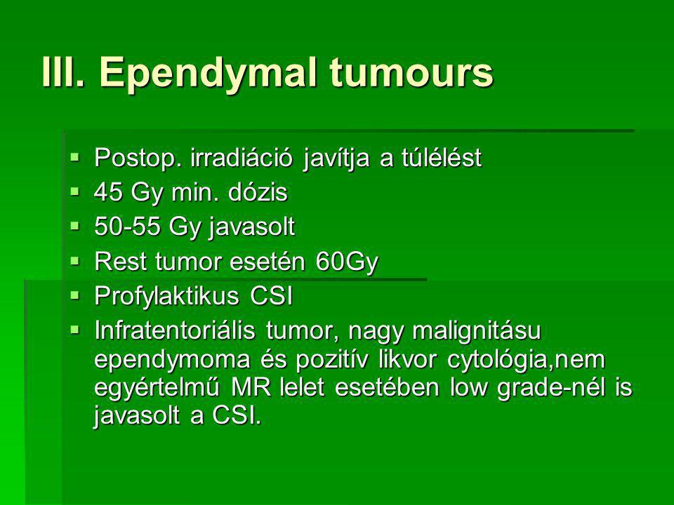 III.Ependymal tumours  Postop. irradiáció javítja a túlélést  45 Gy min.