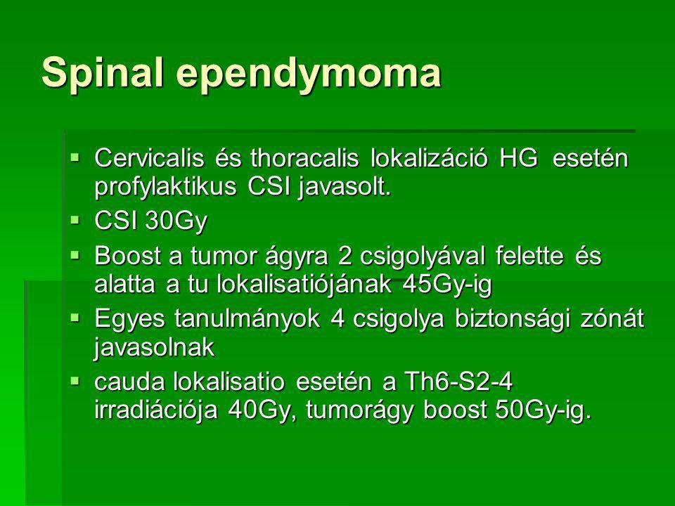 Spinal ependymoma  Cervicalis és thoracalis lokalizáció HG esetén profylaktikus CSI javasolt.
