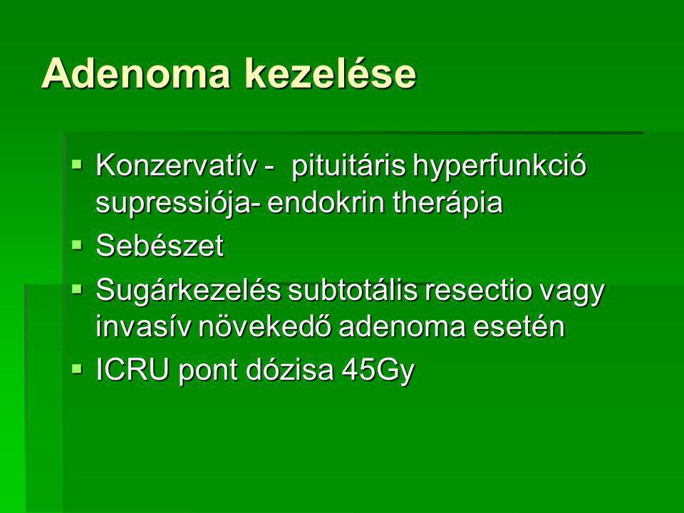 Adenoma kezelése  Konzervatív - pituitáris hyperfunkció supressiója- endokrin therápia  Sebészet  Sugárkezelés subtotális resectio vagy invasív növekedő adenoma esetén  ICRU pont dózisa 45Gy