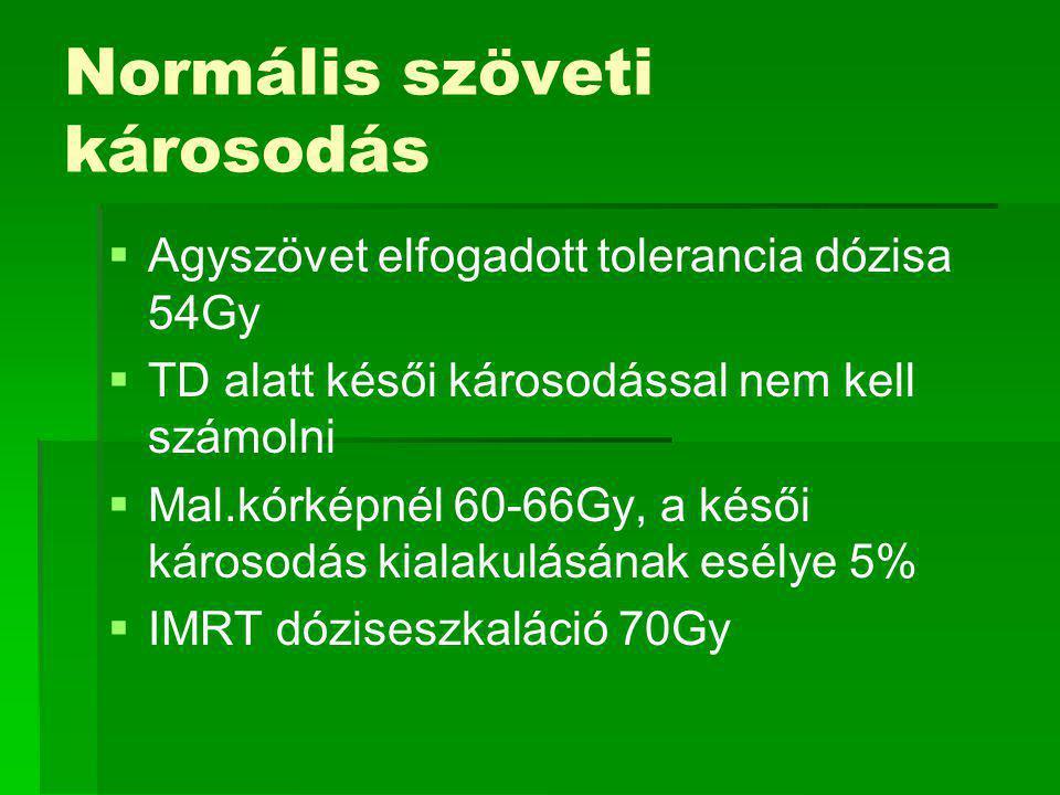 Normális szöveti károsodás   Agyszövet elfogadott tolerancia dózisa 54Gy   TD alatt késői károsodással nem kell számolni   Mal.kórképnél 60-66Gy, a késői károsodás kialakulásának esélye 5%   IMRT dóziseszkaláció 70Gy