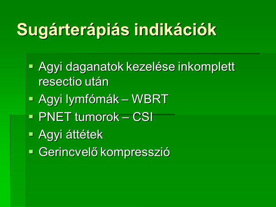 Sugárterápiás indikációk  Agyi daganatok kezelése inkomplett resectio után  Agyi lymfómák – WBRT  PNET tumorok – CSI  Agyi áttétek  Gerincvelő kompresszió