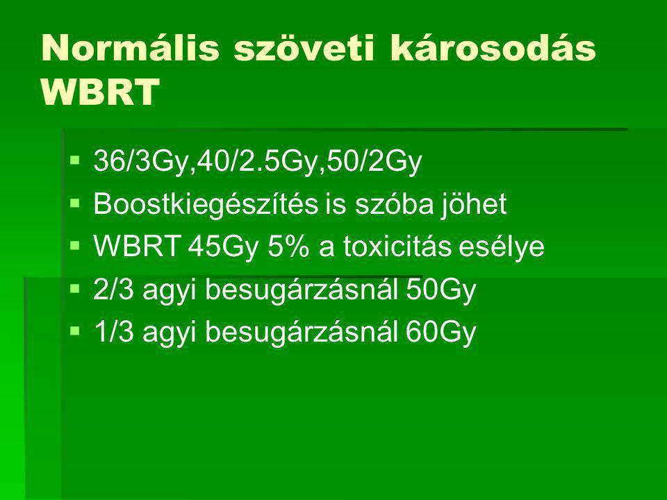 Normális szöveti károsodás WBRT   36/3Gy,40/2.5Gy,50/2Gy   Boostkiegészítés is szóba jöhet   WBRT 45Gy 5% a toxicitás esélye   2/3 agyi besugárzásnál 50Gy   1/3 agyi besugárzásnál 60Gy