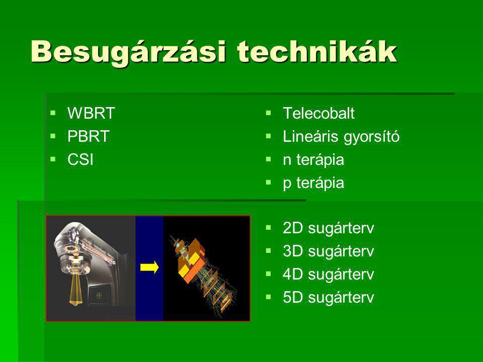 Besugárzási technikák   WBRT   PBRT   CSI   Telecobalt   Lineáris gyorsító   n terápia   p terápia   2D sugárterv   3D sugárterv   4D sugárterv   5D sugárterv
