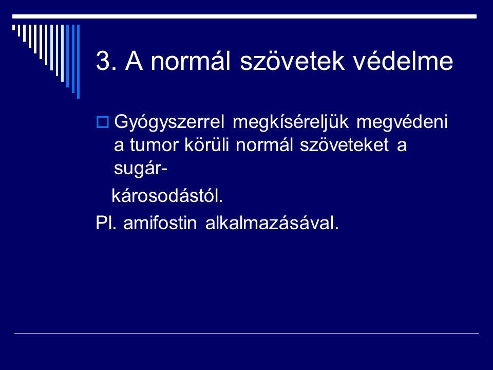 3. A normál szövetek védelme  Gyógyszerrel megkíséreljük megvédeni a tumor körüli normál szöveteket a sugár- károsodástól. Pl. amifostin alkalmazásáv