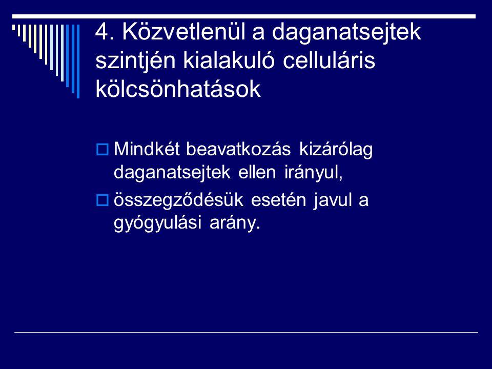 4. Közvetlenül a daganatsejtek szintjén kialakuló celluláris kölcsönhatások  Mindkét beavatkozás kizárólag daganatsejtek ellen irányul,  összegződés