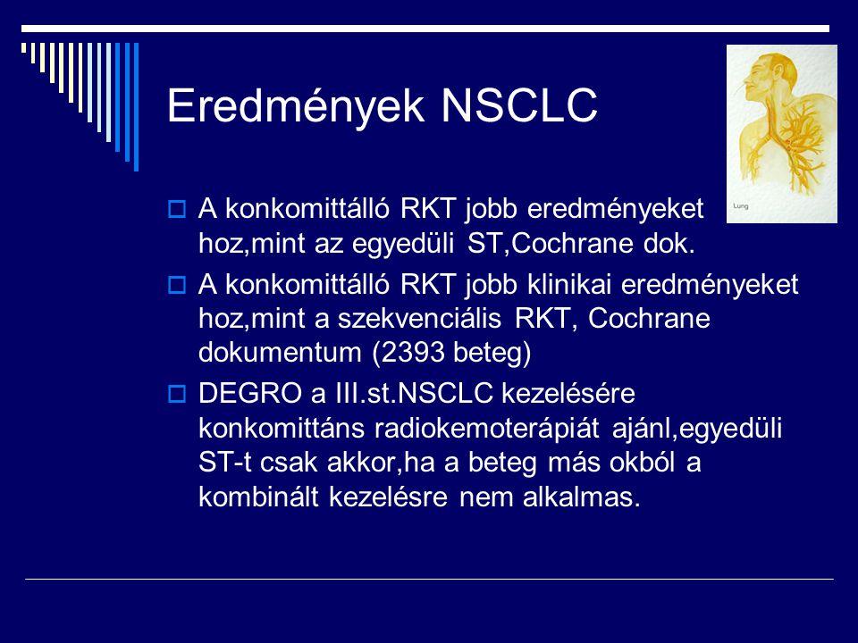 Eredmények NSCLC  A konkomittálló RKT jobb eredményeket hoz,mint az egyedüli ST,Cochrane dok.  A konkomittálló RKT jobb klinikai eredményeket hoz,mi