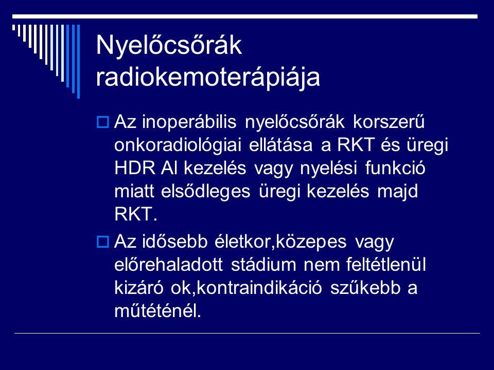 Nyelőcsőrák radiokemoterápiája  Az inoperábilis nyelőcsőrák korszerű onkoradiológiai ellátása a RKT és üregi HDR Al kezelés vagy nyelési funkció miat