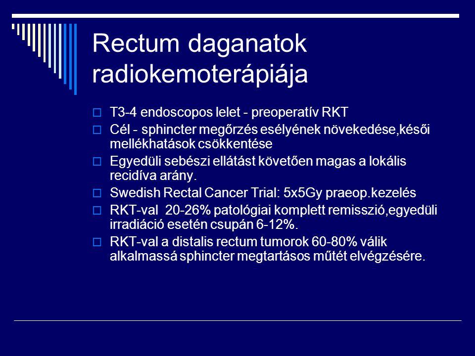 Rectum daganatok radiokemoterápiája  T3-4 endoscopos lelet - preoperatív RKT  Cél - sphincter megőrzés esélyének növekedése,késői mellékhatások csök