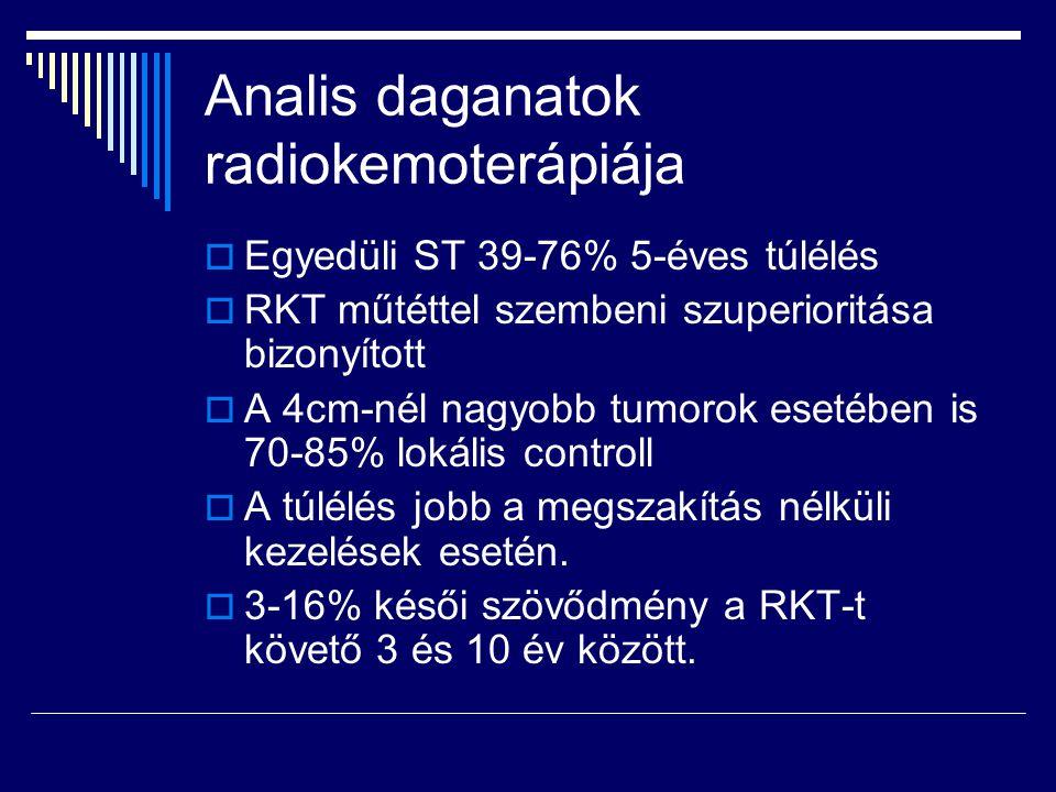 Analis daganatok radiokemoterápiája  Egyedüli ST 39-76% 5-éves túlélés  RKT műtéttel szembeni szuperioritása bizonyított  A 4cm-nél nagyobb tumorok