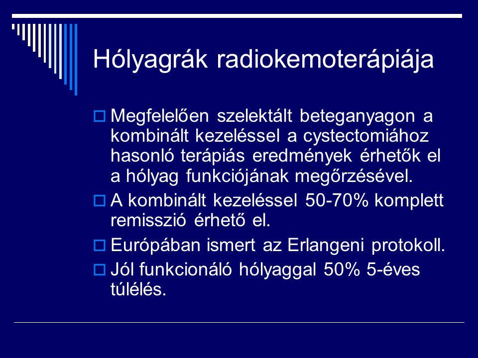 Hólyagrák radiokemoterápiája  Megfelelően szelektált beteganyagon a kombinált kezeléssel a cystectomiához hasonló terápiás eredmények érhetők el a hó