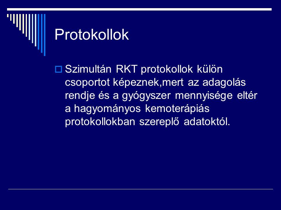 Protokollok  Szimultán RKT protokollok külön csoportot képeznek,mert az adagolás rendje és a gyógyszer mennyisége eltér a hagyományos kemoterápiás pr