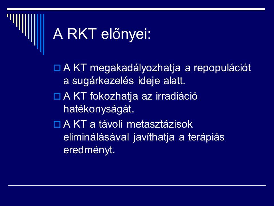 A RKT előnyei:  A KT megakadályozhatja a repopulációt a sugárkezelés ideje alatt.  A KT fokozhatja az irradiáció hatékonyságát.  A KT a távoli meta