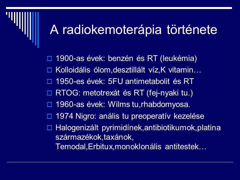 A radiokemoterápia története  1900-as évek: benzén és RT (leukémia)  Kolloidális ólom,desztillált víz,K vitamin…  1950-es évek: 5FU antimetabolit é