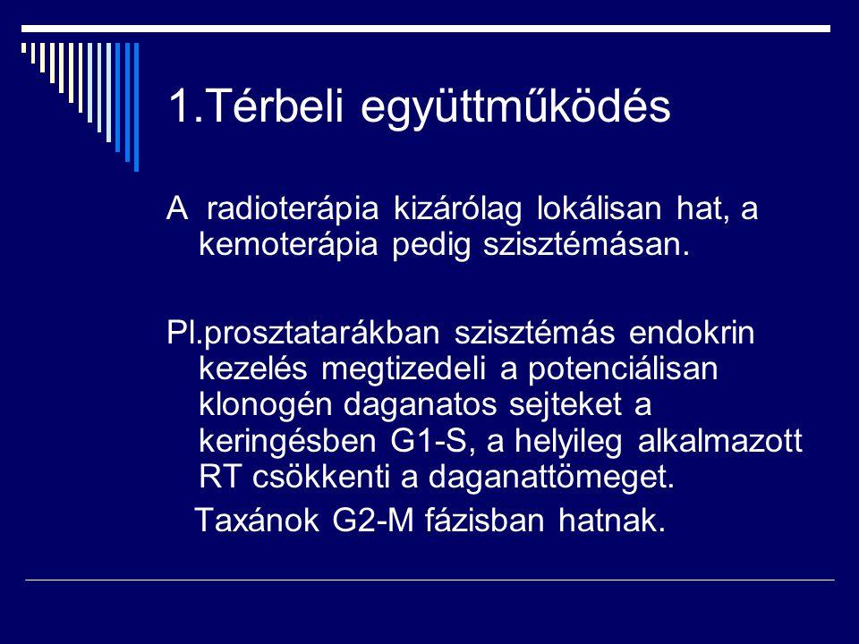 1.Térbeli együttműködés A radioterápia kizárólag lokálisan hat, a kemoterápia pedig szisztémásan. Pl.prosztatarákban szisztémás endokrin kezelés megti
