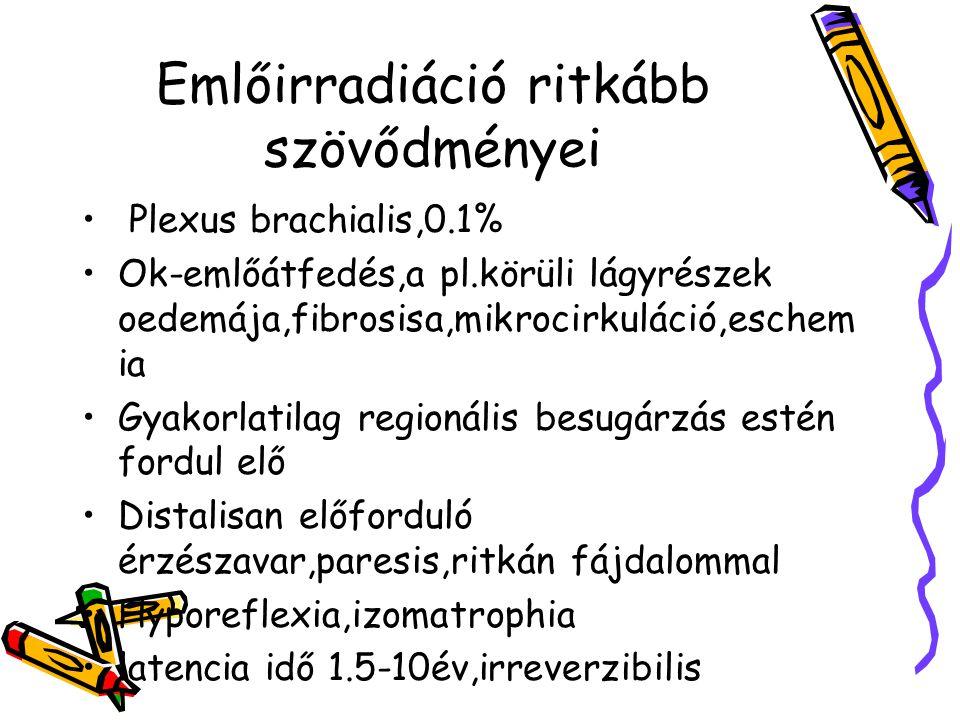 Emlőirradiáció ritkább szövődményei Plexus brachialis,0.1% Ok-emlőátfedés,a pl.körüli lágyrészek oedemája,fibrosisa,mikrocirkuláció,eschem ia Gyakorla