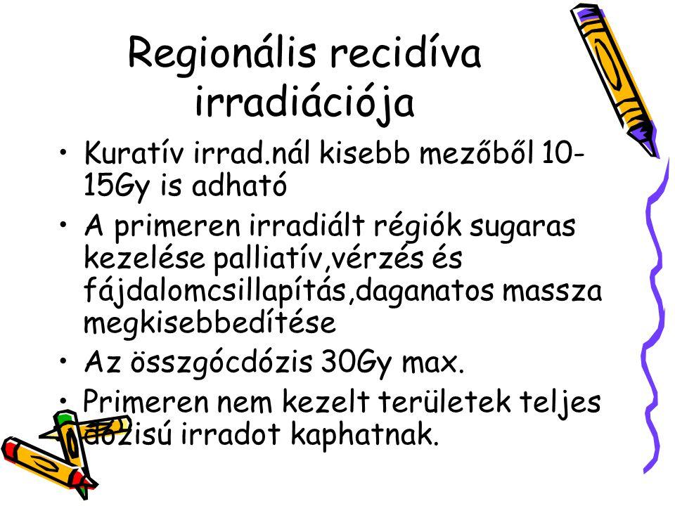 Regionális recidíva irradiációja Kuratív irrad.nál kisebb mezőből 10- 15Gy is adható A primeren irradiált régiók sugaras kezelése palliatív,vérzés és