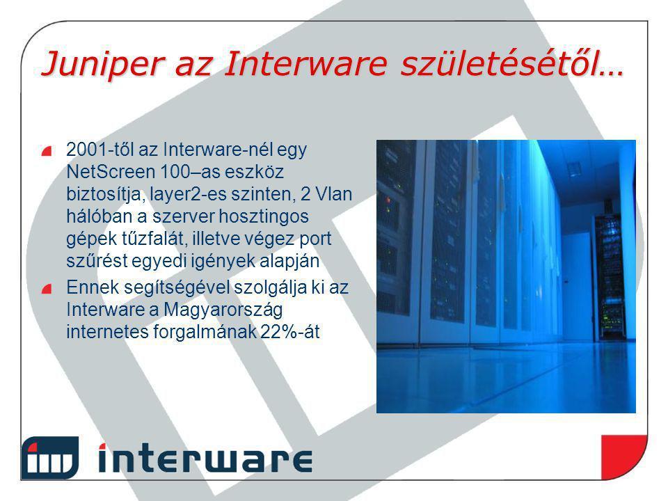 Juniper az Interware születésétől… 2001-től az Interware-nél egy NetScreen 100–as eszköz biztosítja, layer2-es szinten, 2 Vlan hálóban a szerver hoszt