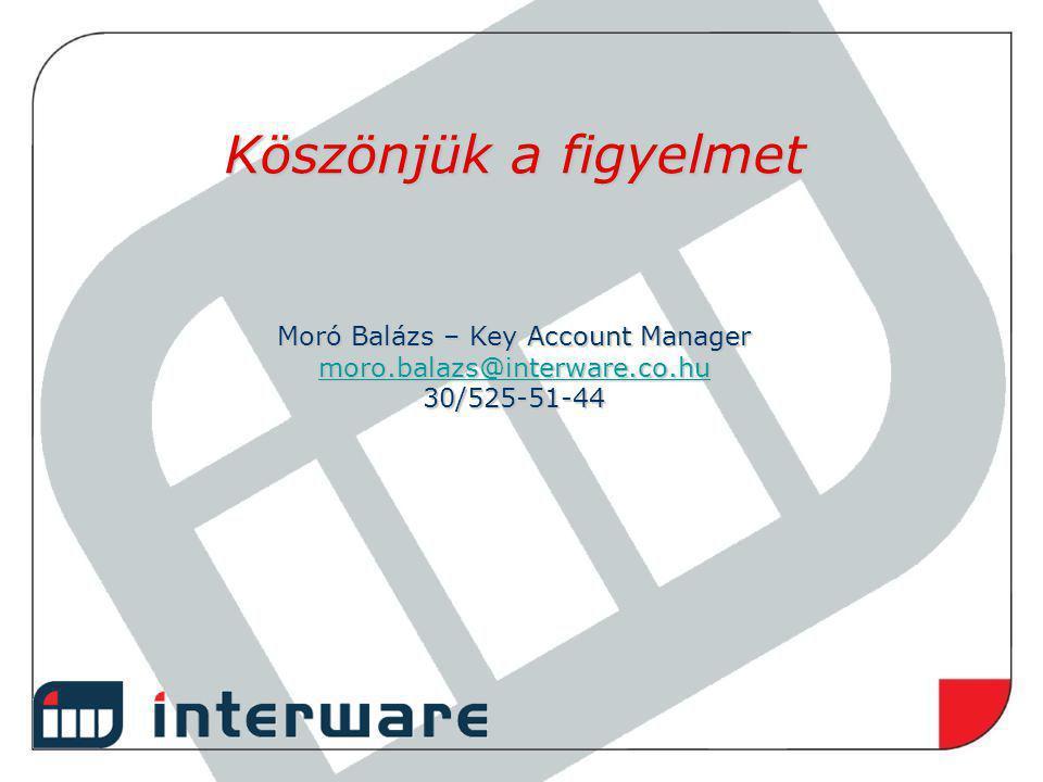 Köszönjük a figyelmet Moró Balázs – Key Account Manager moro.balazs@interware.co.hu 30/525-51-44 moro.balazs@interware.co.hu
