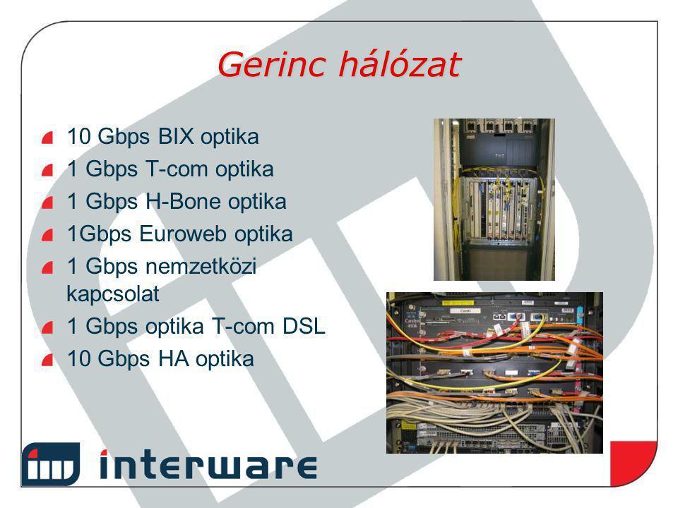 Gerinc hálózat 10 Gbps BIX optika 1 Gbps T-com optika 1 Gbps H-Bone optika 1Gbps Euroweb optika 1 Gbps nemzetközi kapcsolat 1 Gbps optika T-com DSL 10