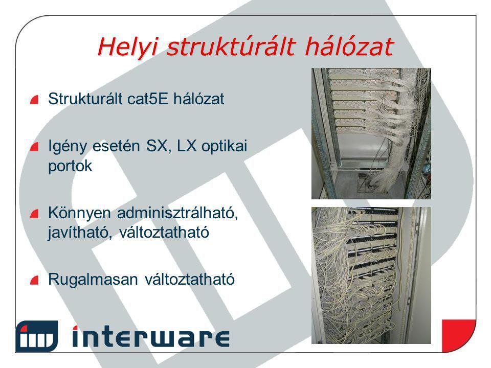 Helyi struktúrált hálózat Strukturált cat5E hálózat Igény esetén SX, LX optikai portok Könnyen adminisztrálható, javítható, változtatható Rugalmasan v