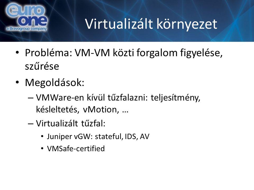 Virtualizált környezet Probléma: VM-VM közti forgalom figyelése, szűrése Megoldások: – VMWare-en kívül tűzfalazni: teljesítmény, késleltetés, vMotion,