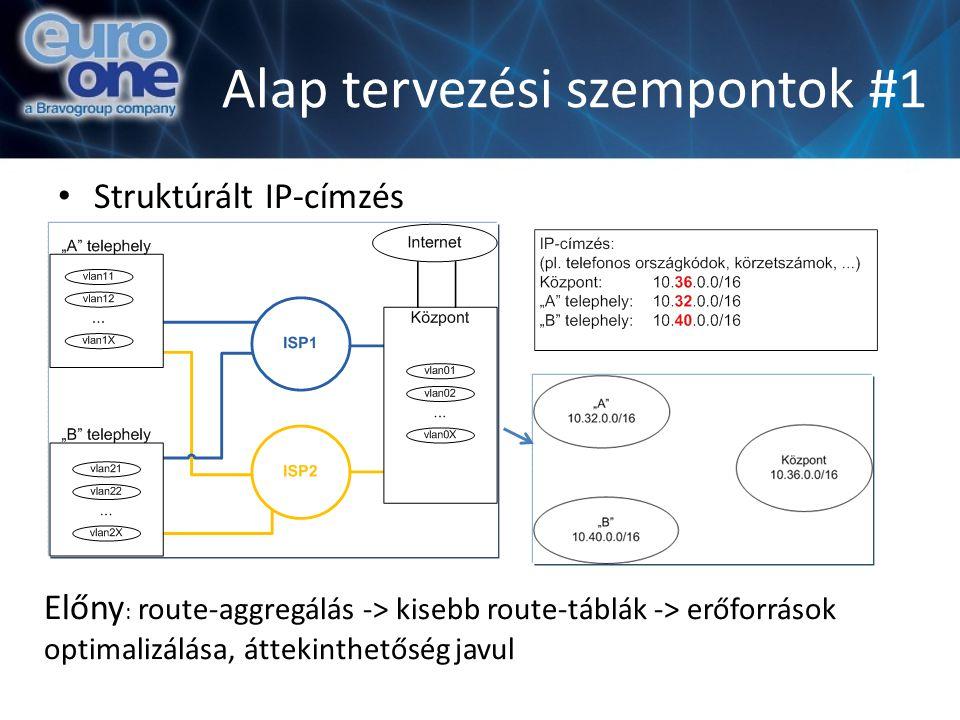 Alap tervezési szempontok #1 Struktúrált IP-címzés Előny : route-aggregálás -> kisebb route-táblák -> erőforrások optimalizálása, áttekinthetőség javul