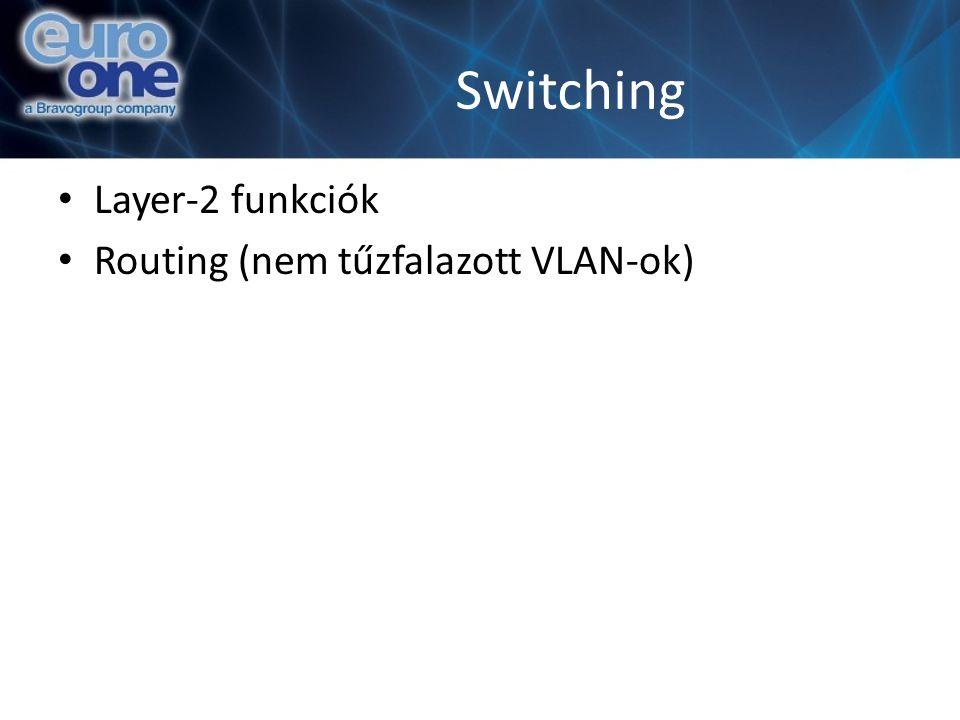 Switching Layer-2 funkciók Routing (nem tűzfalazott VLAN-ok)